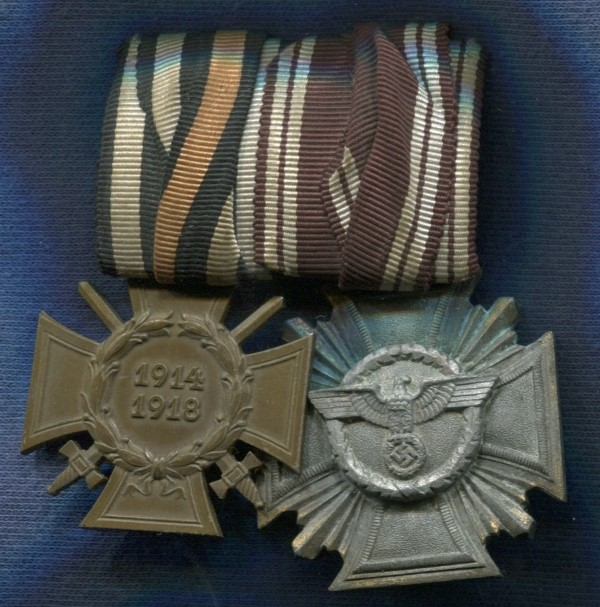 Germany III Reich. Bar with 3 Medals:  Medal 10 Years of Service to the NSDAP bronze NSDAP Partei Dienstauszeichnung in 10 Jahre Treudienste and Cross of Honor of WW1 With swords for Combatants. III Reich medal.