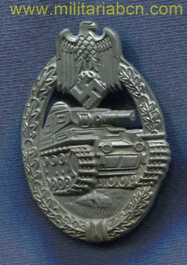 Germany III Reich. German Panzer Assault badge. Panzer Kampfabzeichen. Marked  Silver version. Made by. E. Ferdinand Wiemann. German award second world war.