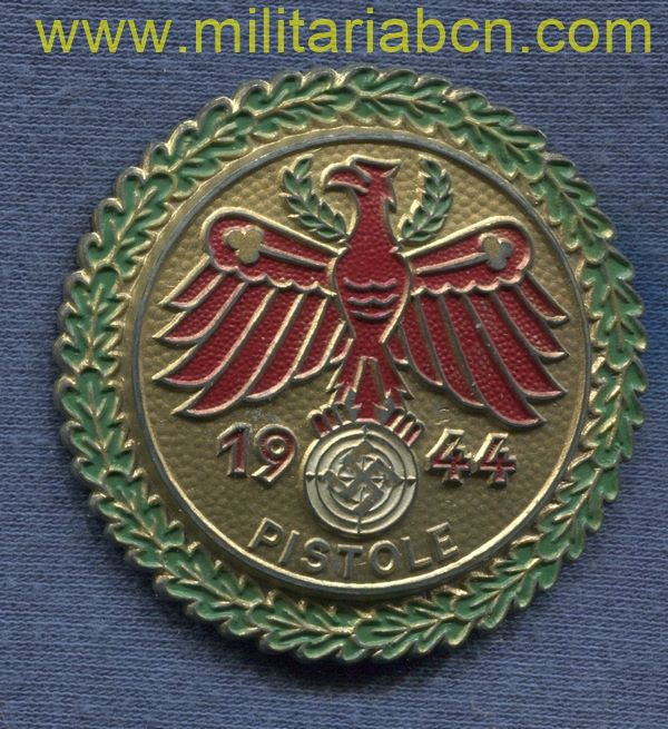 Germany III Reich. Gau Champion Badge in Gold. Wehrmann. Large Size. 1944. Pistol. German award second world war.