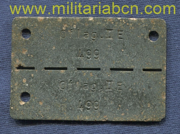 Prisoner of war ID dogtag of the Oflag IIE, Neubrandenburg.