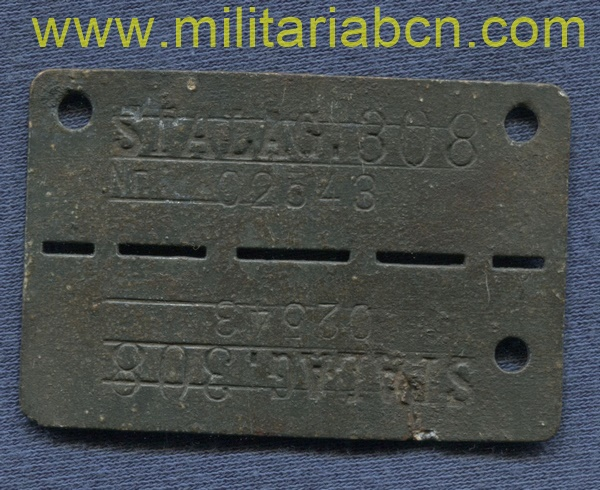Dog tag prisoner of war Stalag 308. Neuhammer, Silesia