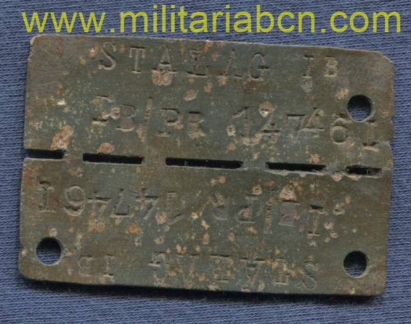 Prisoner of war ID dogtag of the Stalag IB, Hohenstein East Prussia.