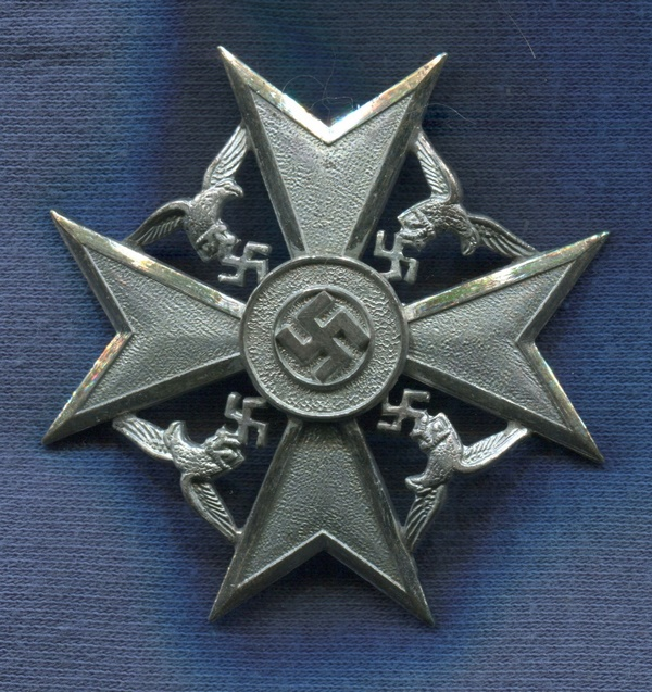 Germany III Reich. Spanien Kreuz. Without swords Silver version Cruz de España. Legion Condor.   Marked L / 32   Very good reproduction of the 70-80