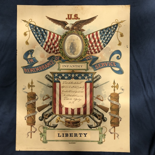Commemorative poster of a US Infantry Sergeant who died in France in 1918 in World War I. militariabcn.com