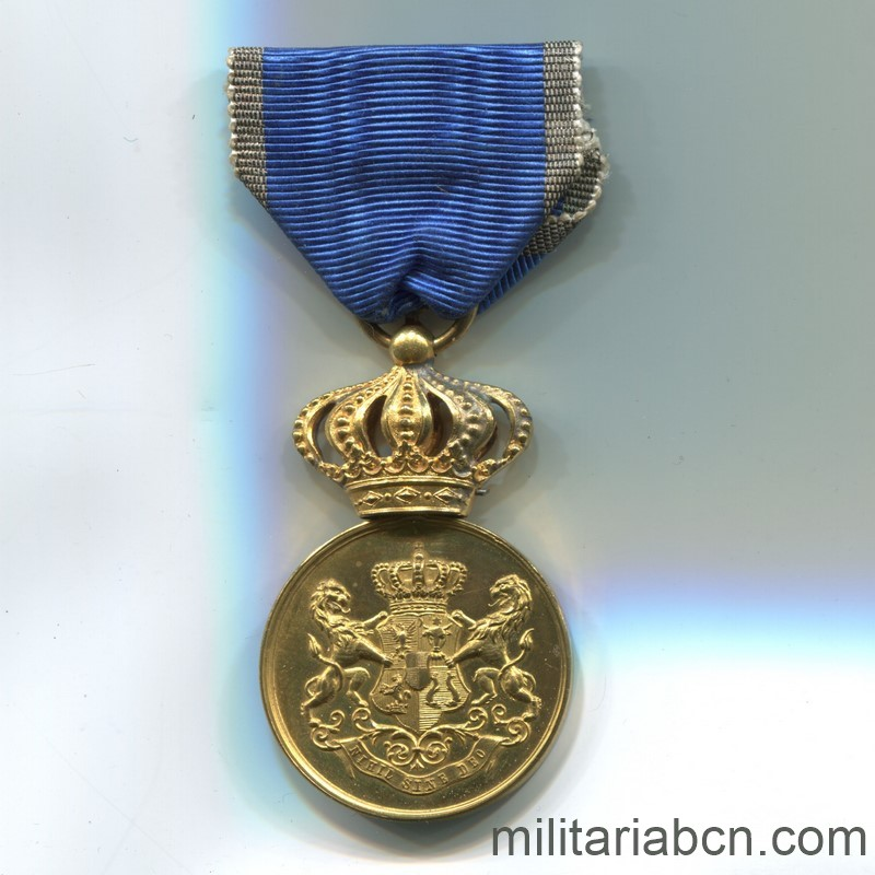 Militaria Barcelona Romania. Faithful Service Medal. Model 1880. 1st Class. Ribbon