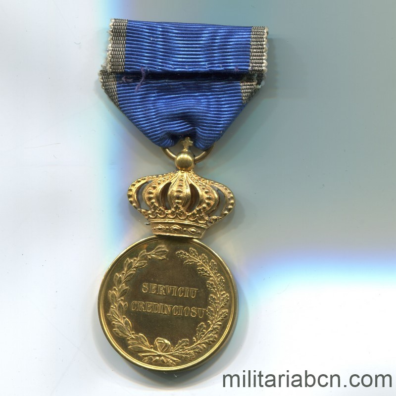 Militaria Barcelona Romania. Faithful Service Medal. Model 1880. 1st Class. Reverse ribbon