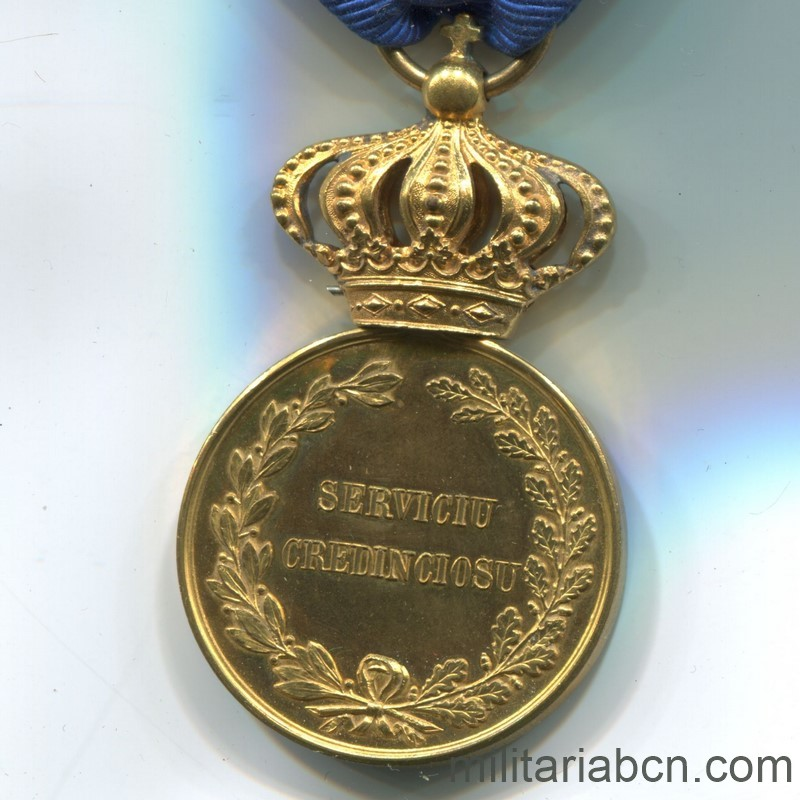 Militaria Barcelona Romania. Faithful Service Medal. Model 1880. 1st Class. Reverse