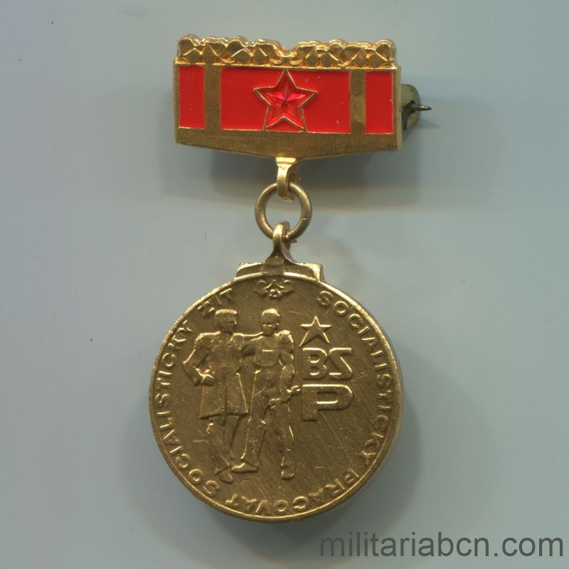 Militaria Barcelona Socialist Republic of Czechoslovakia. Medal of member of the Socialist Brigades. With original box and bar. Anvers