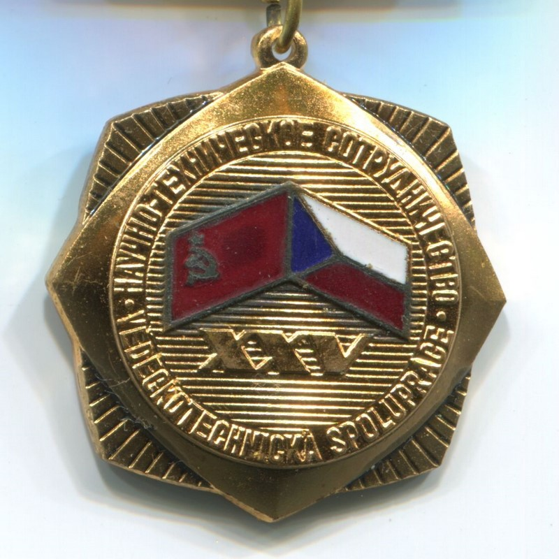 Militaria Barcelona. Socialist Republic of Czechoslovakia. Medal of the 15th Anniversary of Scientific and Technical Cooperation. Czechoslovakia USSR 1947-1972.