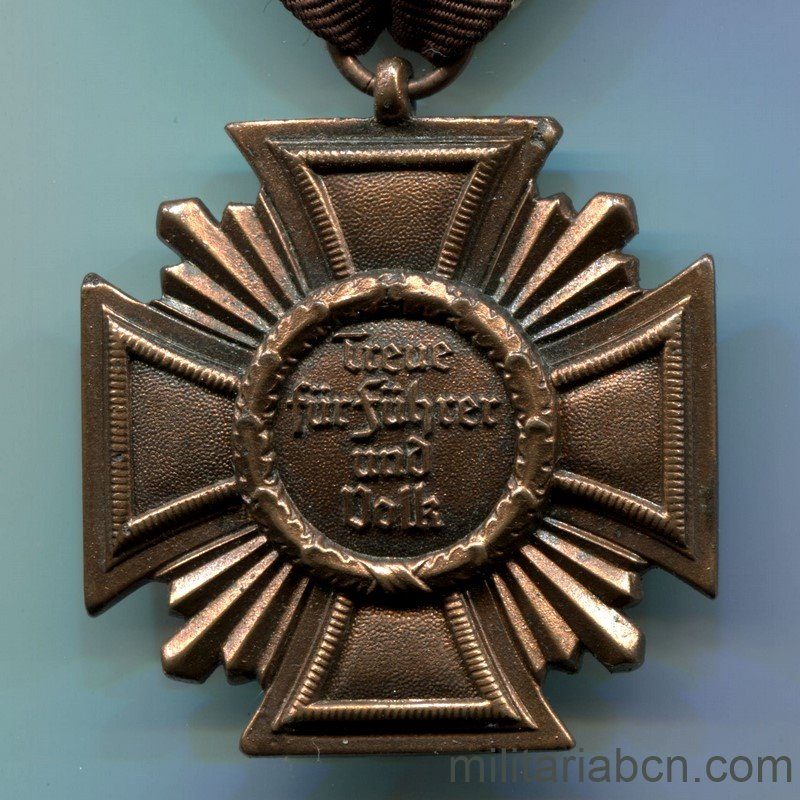 Militaria BarcelonaNSDAP Long Service Award; Third Class. 10 Years. Reverse