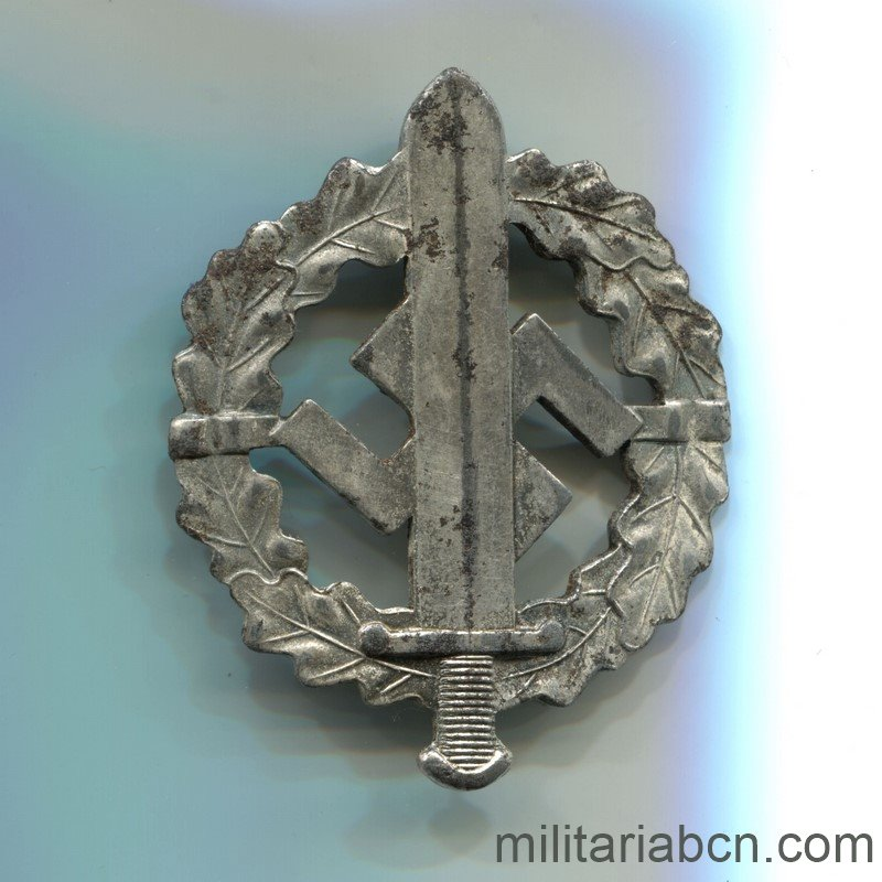 Militaria Barcelona SA Sports Badge. Silver version. Marked Eigentum C. Obersten SA Führung Saar Lautern