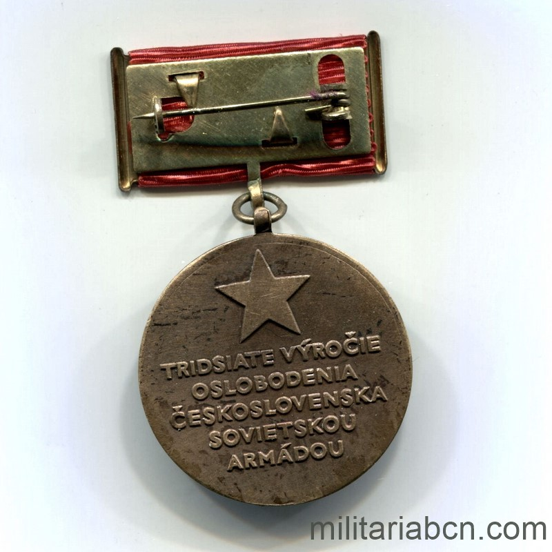 Militaria Barcelona Medal of the 30th Anniversary of the Union with the Soviet Army for the Liberation of Czechoslovakia. 1944-1974. Medal reverse