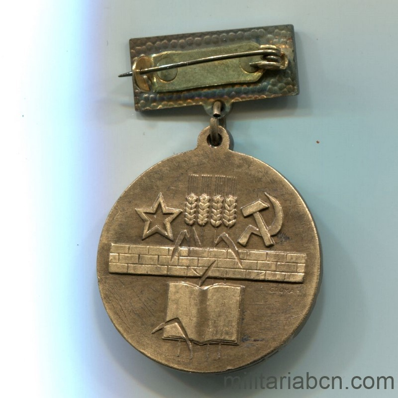 Militaria Barcelona Czechoslovak Socialist Republic. Medal of Merit for the Development of the Central Slovakia. Breast medal reverse