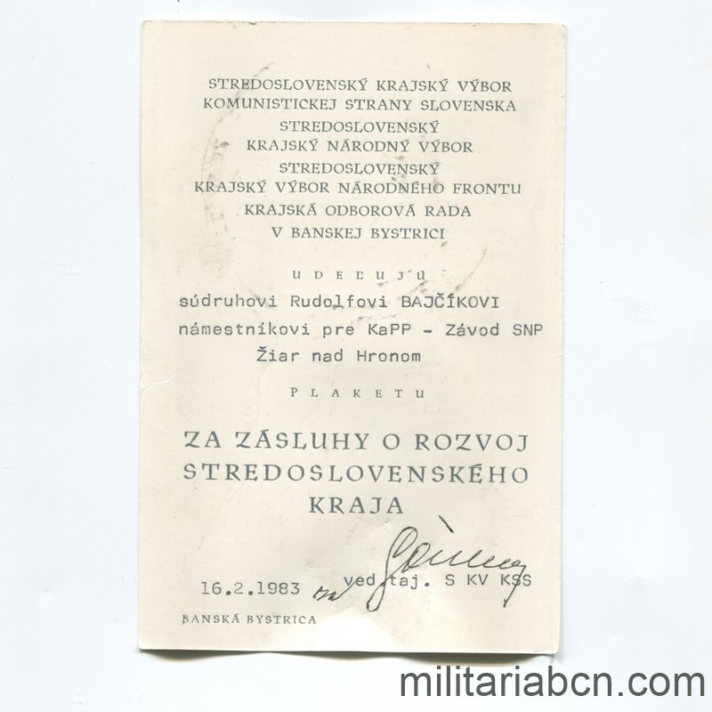 Militaria Barcelona Czechoslovak Socialist Republic.  Medal of Merit for the Development of the Central Slovakia. Award document
