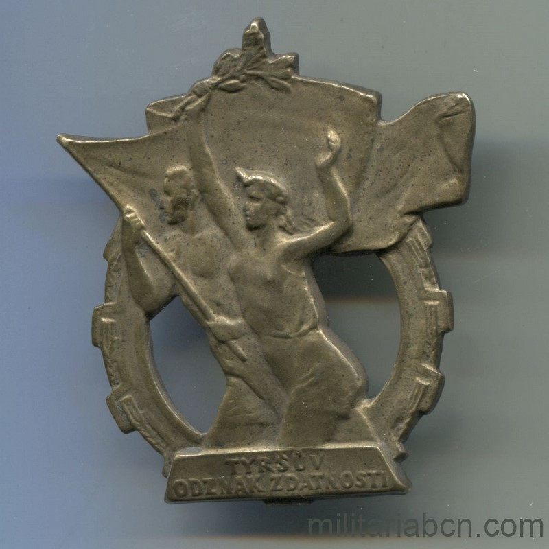 Militaria Barcelona Czechoslovakia Sports Preparation Badge 3rd Class, 50s.