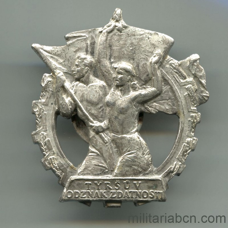 Militaria Barcelona Czechoslovakia Sports Preparation Badge 2nd Class, 50s.