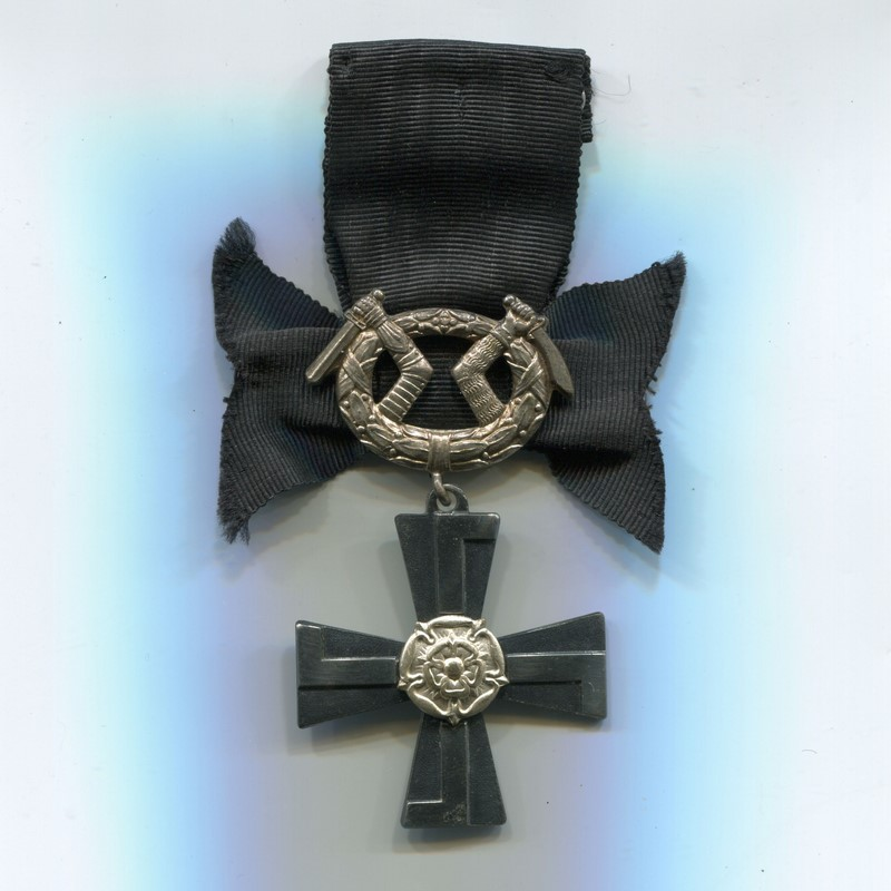 Militaria Barcelona Order of the Cross of Liberty, Mourning Cross. Was awarded to the relatives of service personnel killed in war. ribbon