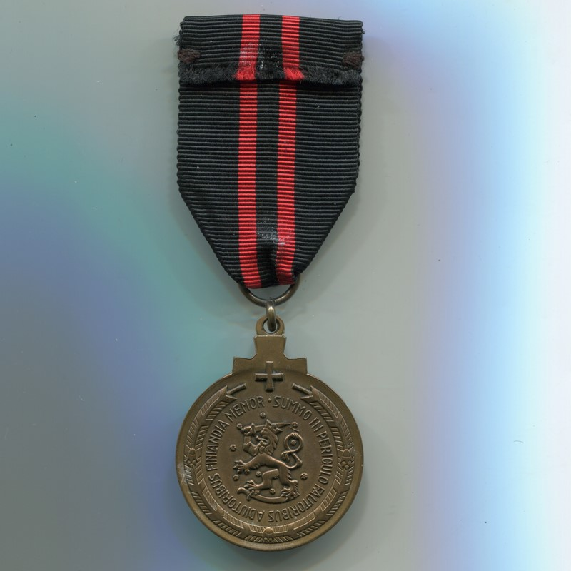 Militaria Barcelona Finland. Commemorative Medal of the Winter War. Variation for Swedish volunteers Ribbon reverse