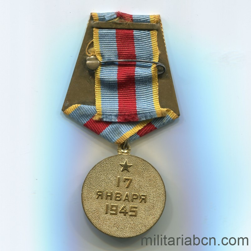 USSR Soviet Medal Medal for the Liberation of Warsaw reverse