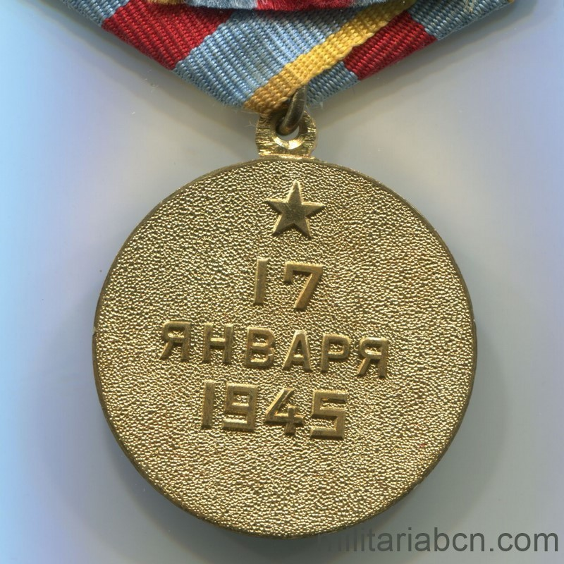 USSR Soviet Medal Medal for the Liberation of Warsaw reverse ww2
