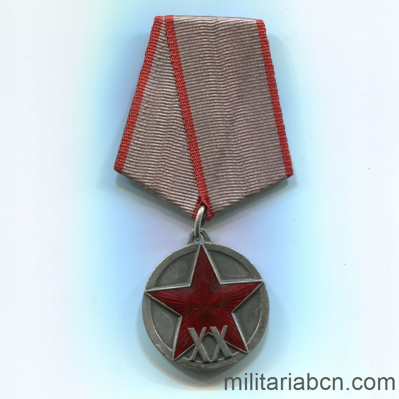 Militaria Barcelona USSR  Soviet Union  Medal of the XX Anniversary of the Red Army of Workers and Peasants (RKKA).  Awarded in 1938.  Type 2.  Silver.  Weight 23.4g  The vertical scratching of the lawn is appreciated, distinctive of the originals. ribbon