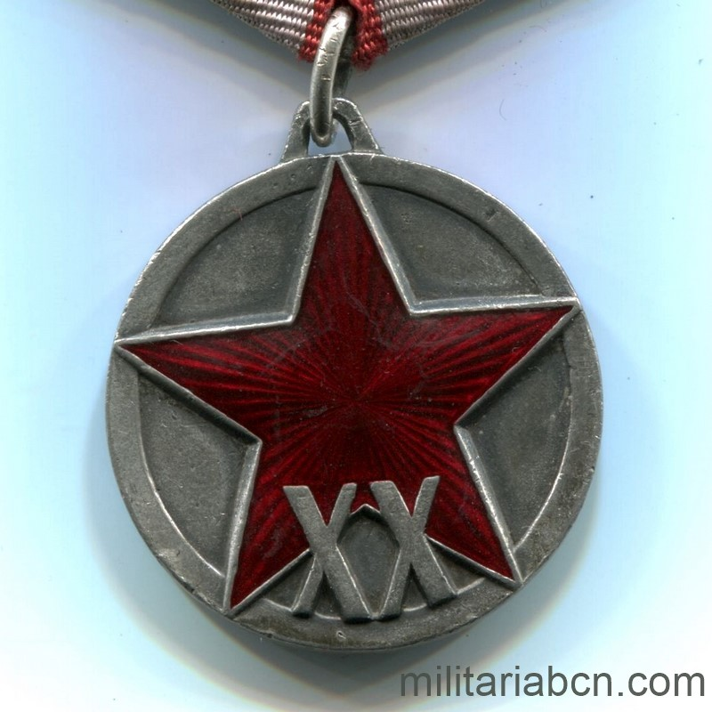 Militaria Barcelona USSR  Soviet Union  Medal of the XX Anniversary of the Red Army of Workers and Peasants (RKKA).  Awarded in 1938.  Type 2.  Silver.  Weight 23.4g  The vertical scratching of the lawn is appreciated, distinctive of the originals.