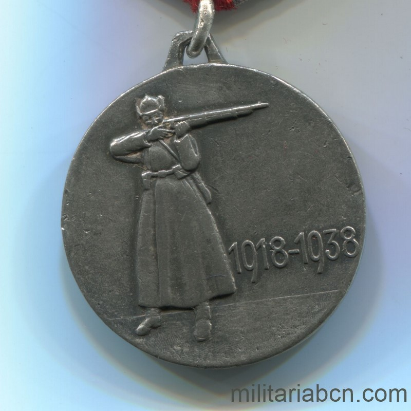 Militaria Barcelona USSR Soviet Union Medal of the XX Anniversary of the Red Army of Workers and Peasants (RKKA). Awarded in 1938. Type 2. Silver. Weight 23.4g The vertical scratching of the lawn is appreciated, distinctive of the originals. reverse