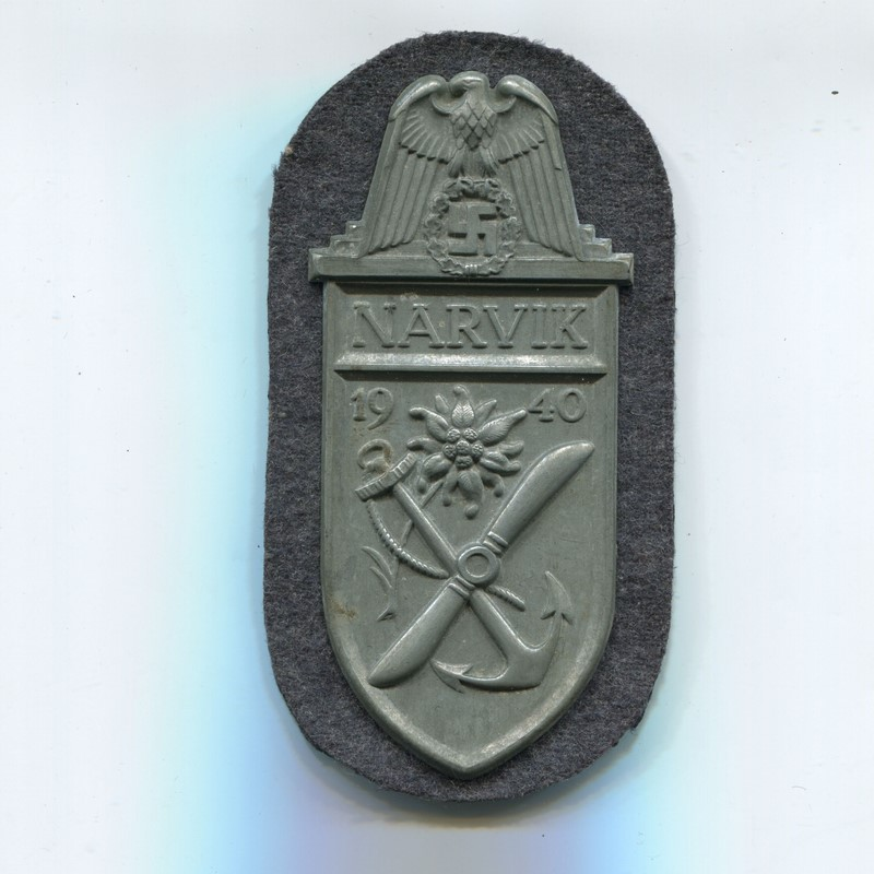 Militaria Barcelona Germany III Reich. Narvik campaign shield. Wehrmacht version. Zinc.