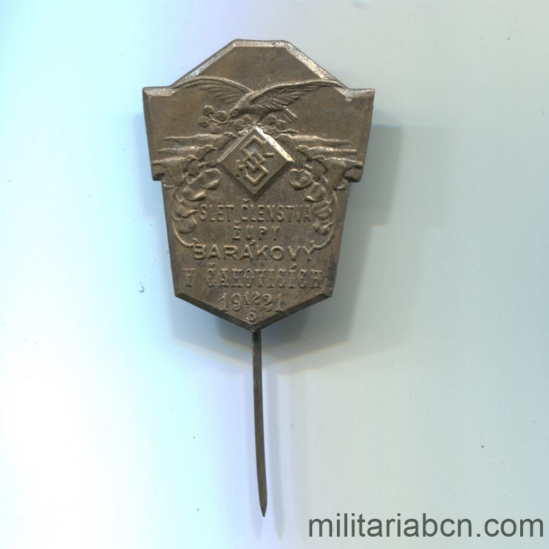Militaria Barcelona Czechoslovak Republic.  1918-1938.  Badge of the Meeting to Barakovy of members of the Sokol 1924