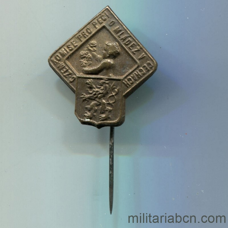 Militaria Barcelona Czechoslovak Republic.  1918-1938.  Patriotic badge of the Commission for the Formation of Youth.