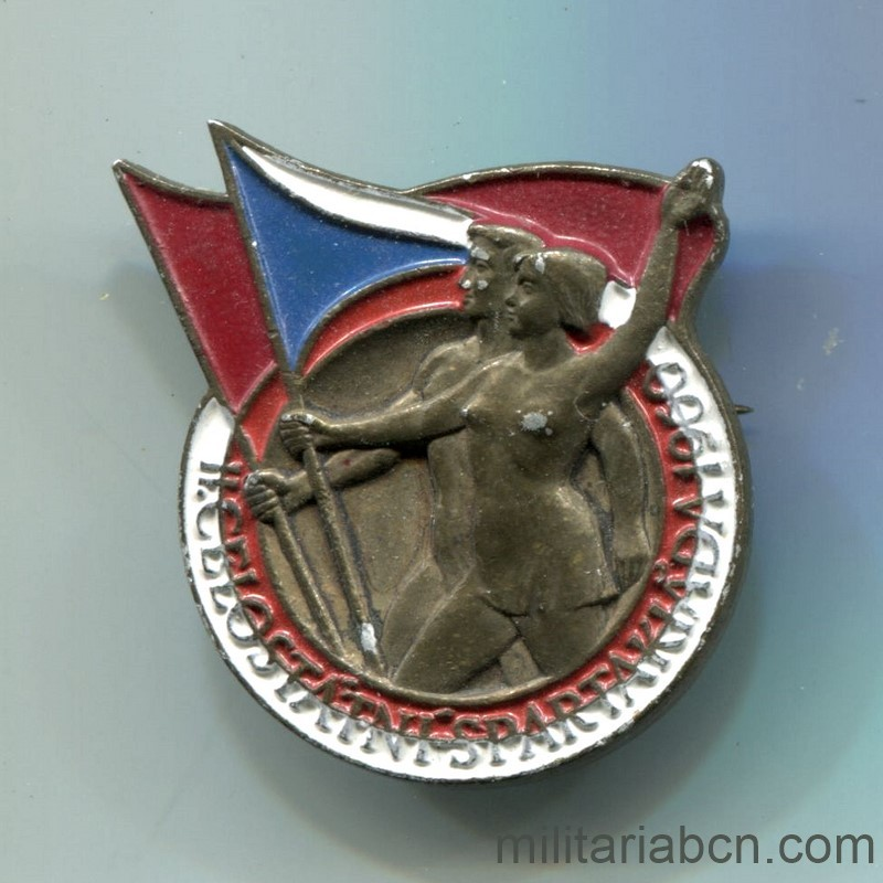 Militaria Barcelona 1960 Czechoslovak Republic.  Spartakiada badge.  Socialist era.