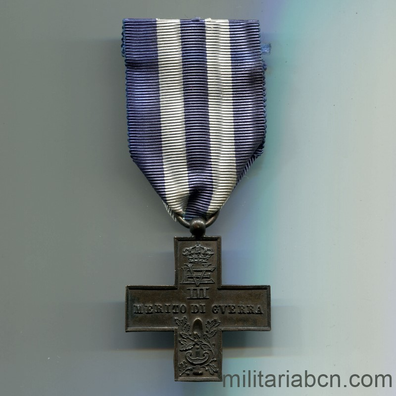 Militaria Barcelona Italy. Merito di Guerra Cross. Unifacial Made in Spain Spanish Civil War. ribbon