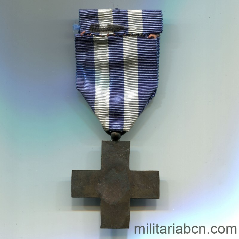 Militaria Barcelona Italy. Merito di Guerra Cross. Unifacial Made in Spain Spanish Civil War. ribbon reverse