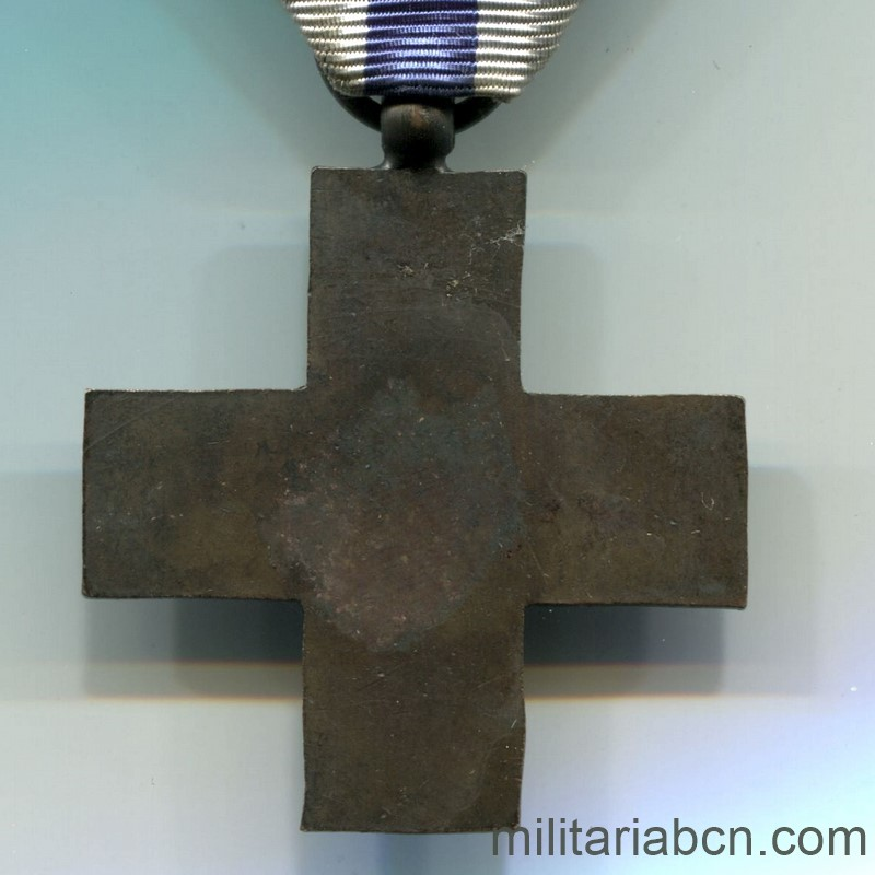 Militaria Barcelona Italy. Merito di Guerra Cross. Unifacial Made in Spain Spanish Civil War. reverse