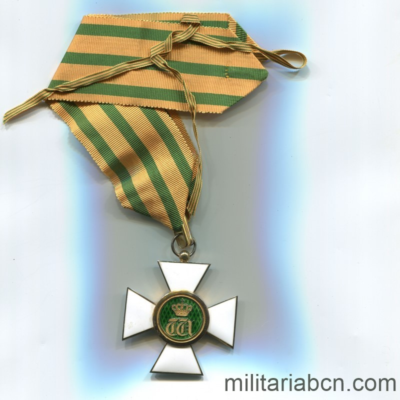 Militaria Barcelona Luxembourg. Commander's Cross of the Order of the Oak Crown. With original box. ribbon reverse