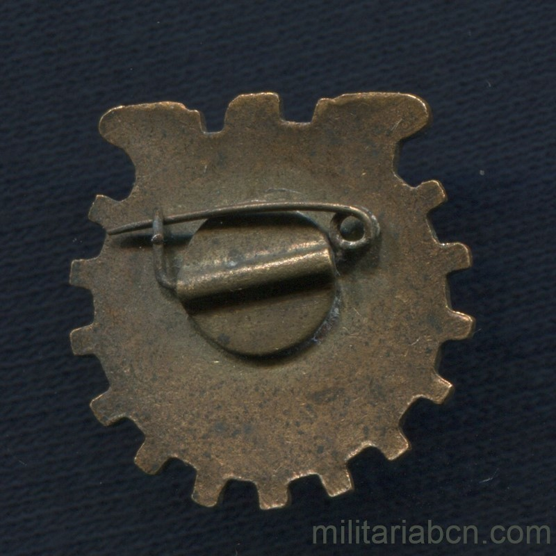 Militaria Barcelona USSR Soviet Union. Badge of the 5th Spartakiada of Trade Unions. Sport tournament. Year 1955 reverse