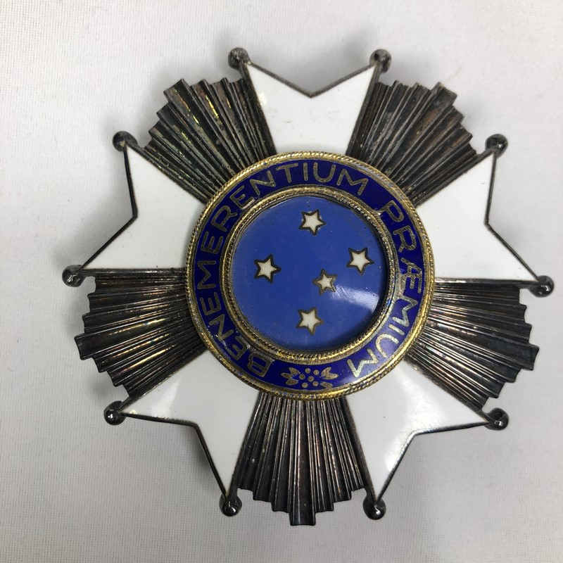 Militaria Barcelona Federative Republic of Brazil. Grand Officer's Breast badge and Cross of the Southern Cross. Model 1968. With box of origin. Made of silver by H. Stern. star