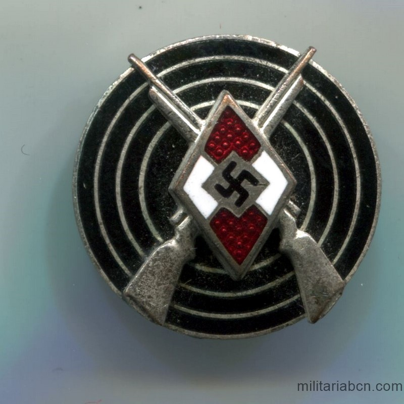 Germany III Reich.  HJ Hitlerjugend Shooting Badge.  Marked RZM M1 / 77.  Made by Förster & Barth-Pforzheim.  HJ Schießauszeichnung