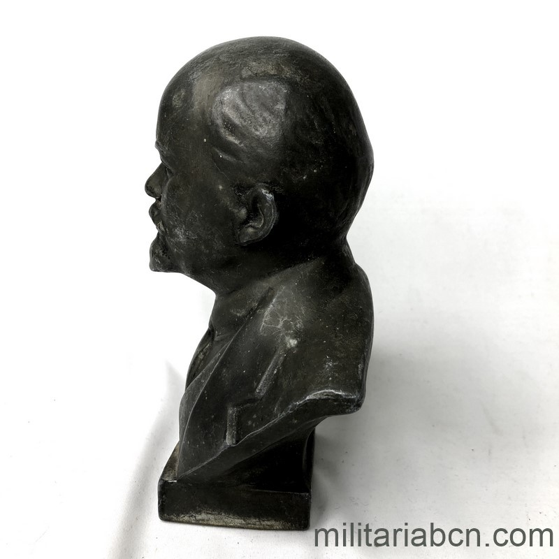Militaria Barcelona USSR Soviet Union. Lenin bust in metal, silumin. 16 cm tall left