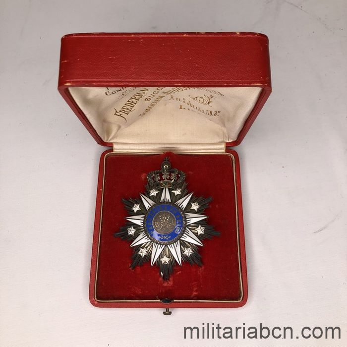 Portugal. Order of Villa Vicosa. Grand Cross stare. Period Carlos I. 1889 -1908. With original box. Made by Frederico Gaspar da Costa,