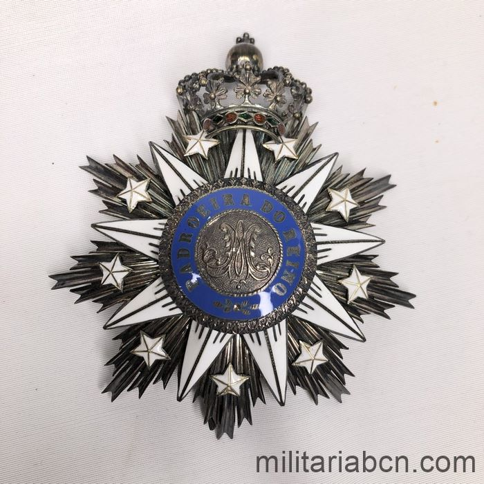 Portugal. Order of Villa Vicosa. Grand Cross stare. Period Carlos I. 1889 -1908. With original box. Made by Frederico Gaspar da Costa,  Star