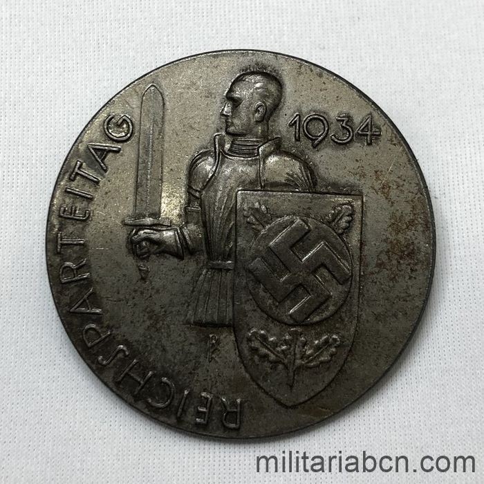 Germany III Reich. 1934 Reichsparteitag badge. Day of the NSDAP. With manufacturer marking C. Balmberger Nürnberg.