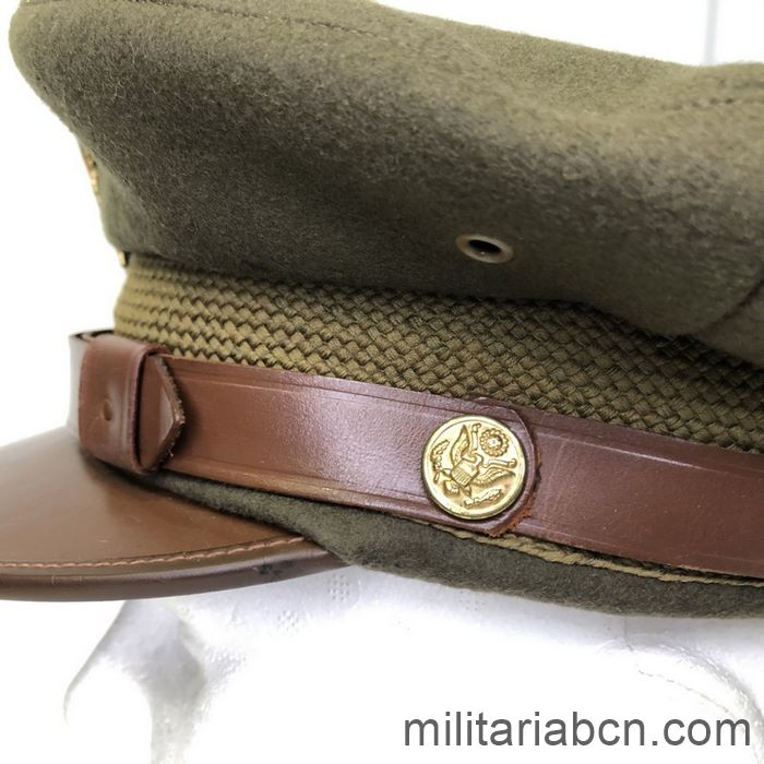 U.S. Army Officer's visor cap. Second World War. WW2. Complete, size 7 1/8.  button