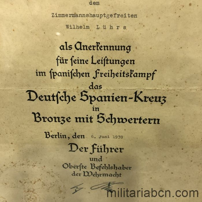 Germany III Reich. Spanien Kreuz mit Swords in Bronze Award . Awarded June 6, 1939 to Zimmermann Hauptgefreiten Wilhelm Lühr
