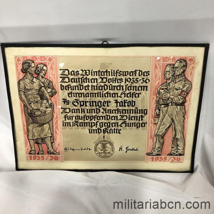 Germany III Reich. Diploma of Appreciation for collaborating with the Winterhilfswerk des Deutschen Volkes from 1935-36