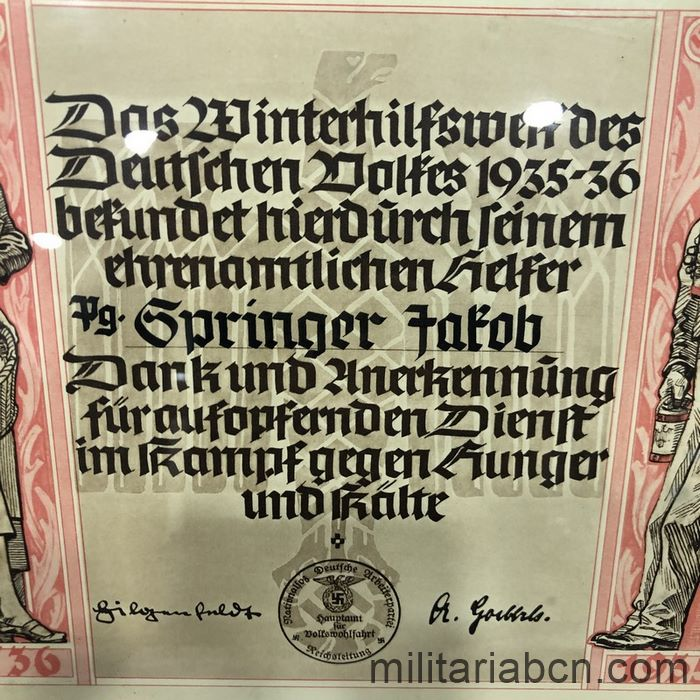 Germany III Reich. Diploma of Appreciation for collaborating with the Winterhilfswerk des Deutschen Volkes from 1935-36 center