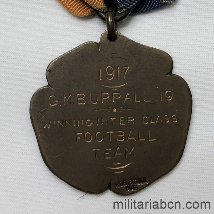 UK. Sports medal. Football Championship 1917. Engraved on the reverse back marking