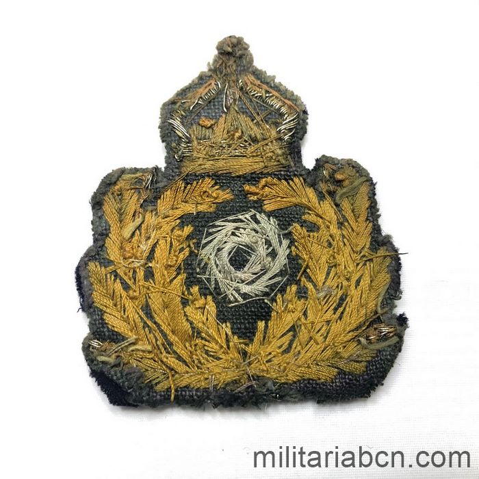 Germany. German Navy Officer cap badge. Kaiserliche Marine. Embroidered. First World War. back side