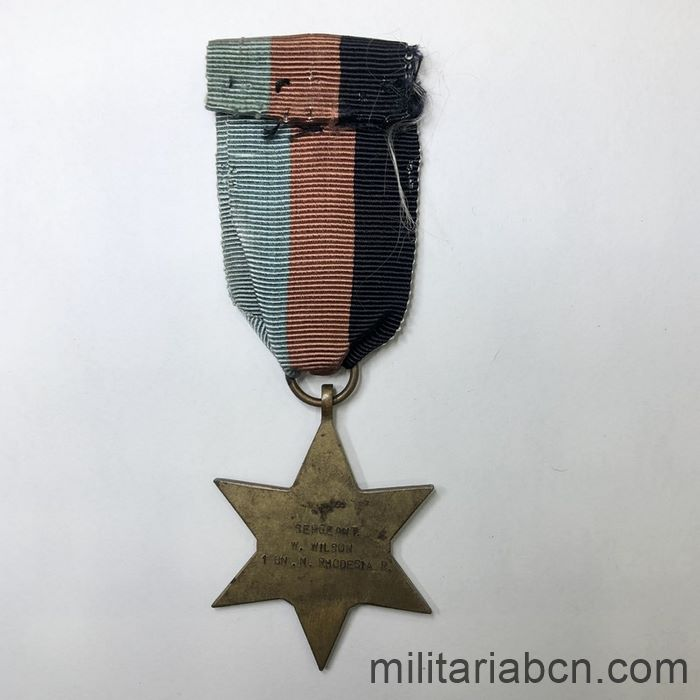 United Kingdom. 39-45 Star. Awarded to a Sergeant of the 1st Battalion of the North Rhodesian Regiment. ribbon back