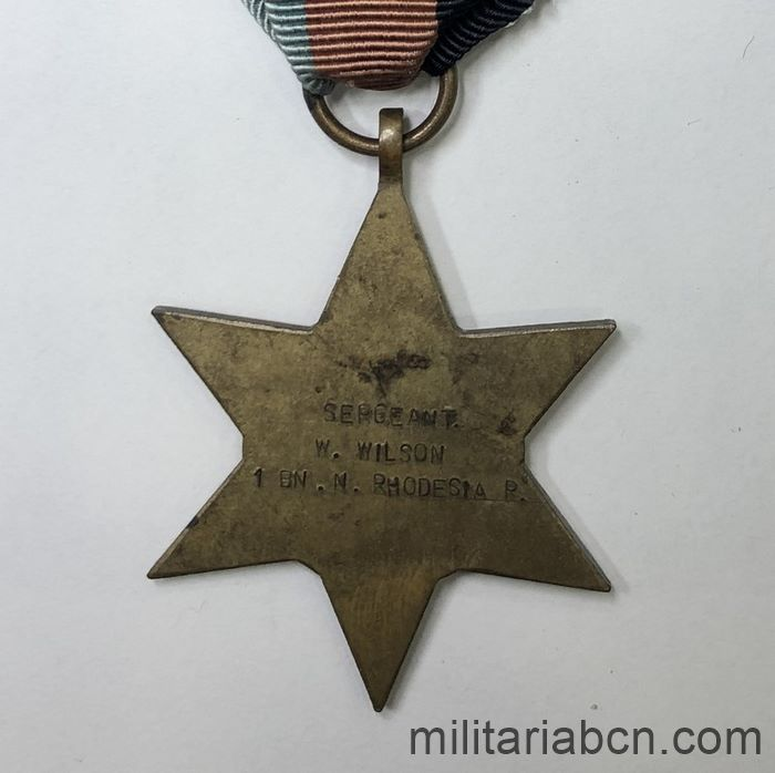 United Kingdom. 39-45 Star. Awarded to a Sergeant of the 1st Battalion of the North Rhodesian Regiment. back